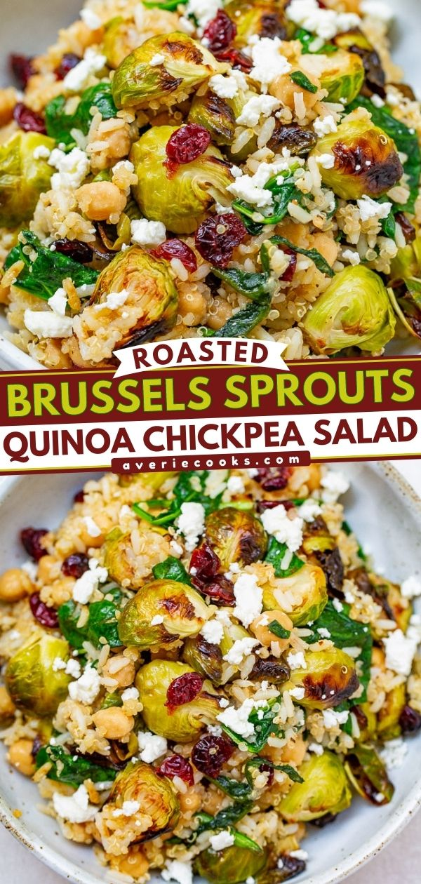 Roasted Brussels Sprouts Salad — A HEARTY salad that celebrates the flavors of fall including roasted Brussels sprouts and dried cranberries along with quinoa, chickpeas, spinach, and goat cheese!! Perfect for lunch, a meatless main, or a HEALTHY side dish on your holiday table!!