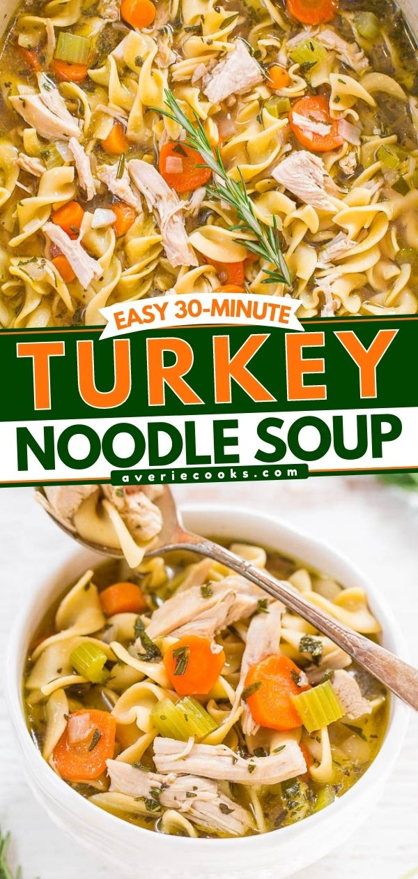 Easy 30-Minute Turkey Noodle Soup —Have leftover Thanksgiving turkey? Make this turkey soup!! It's easy and tastes like grandma's homemade chicken noodle soup, but with turkey!!