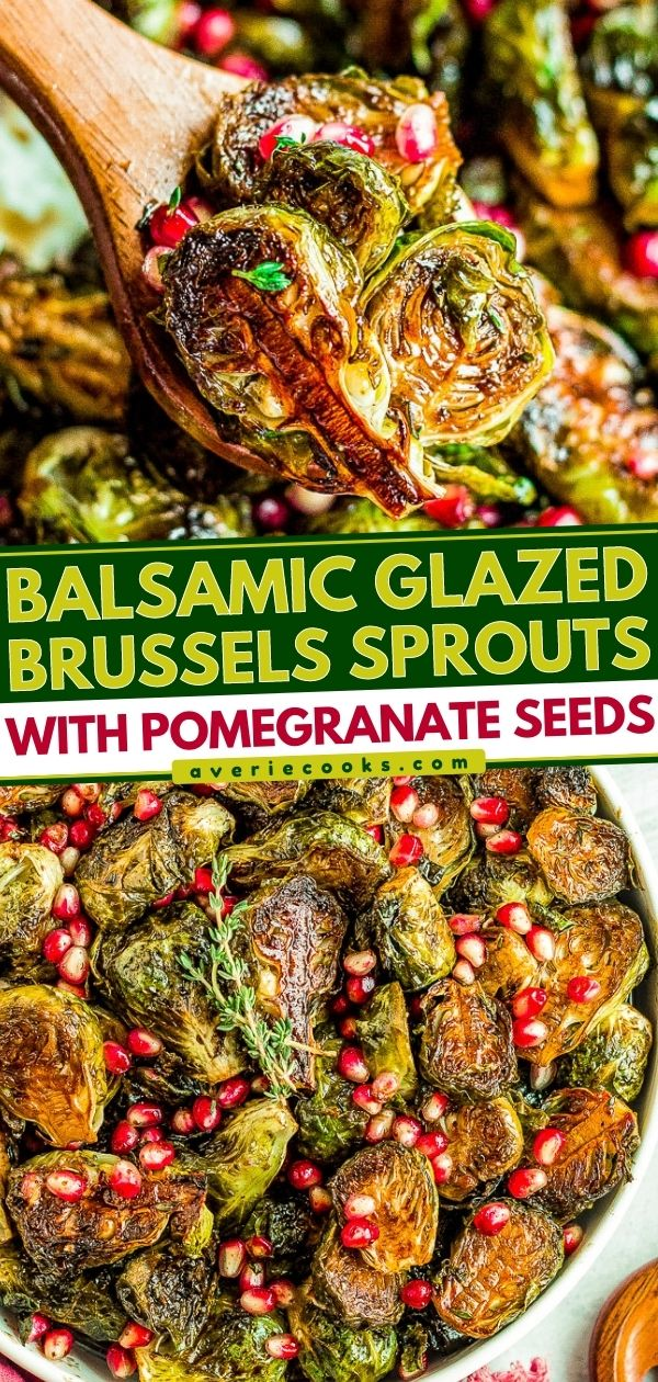Balsamic Glazed Brussels Sprouts with Pomegranate Seeds — An easy side dish that's perfect for not only the holidays but anytime you're in the mood for CRISPY roasted Brussels sprouts!! The homemade balsamic glaze seeps into every inch of the spouts and adds so much tangy-sweet flavor!!