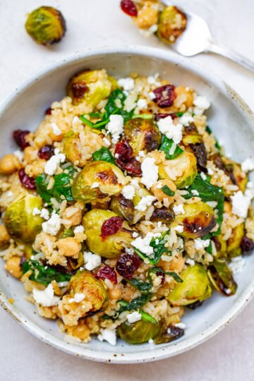 Roasted Brussels Sprouts Quinoa Chickpea Salad