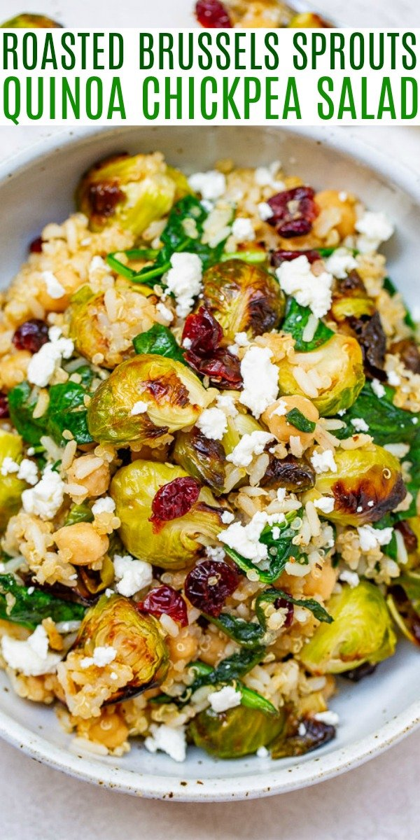 Roasted Brussels Sprouts Quinoa Chickpea Salad – A HEARTY salad that celebrates the flavors of fall including roasted Brussels sprouts and dried cranberries along with quinoa, chickpeas, spinach, and goat cheese!! Perfect for lunch, a meatless main, or a HEALTHY side dish on your holiday table!!