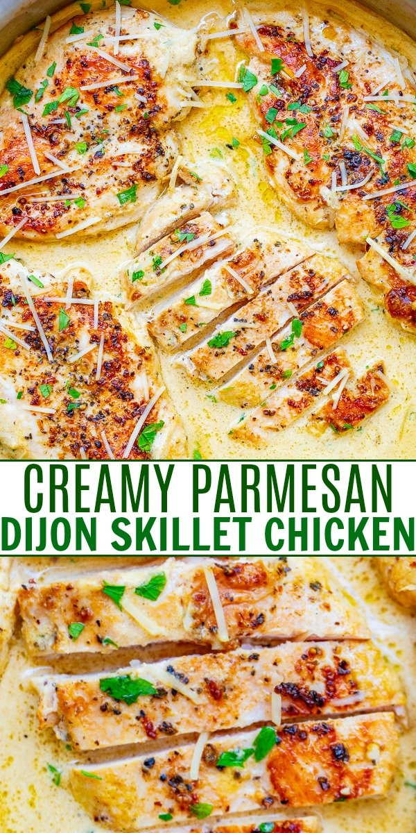 Creamy Parmesan Dijon Skillet Chicken - Tender, juicy chicken bathed in a divine cream sauce made with garlic, cream, Dijon mustard, and a splash of wine for extra flavor!! This restaurant-quality EASY stovetop chicken is ready in 20 minutes and will be a family FAVORITE!