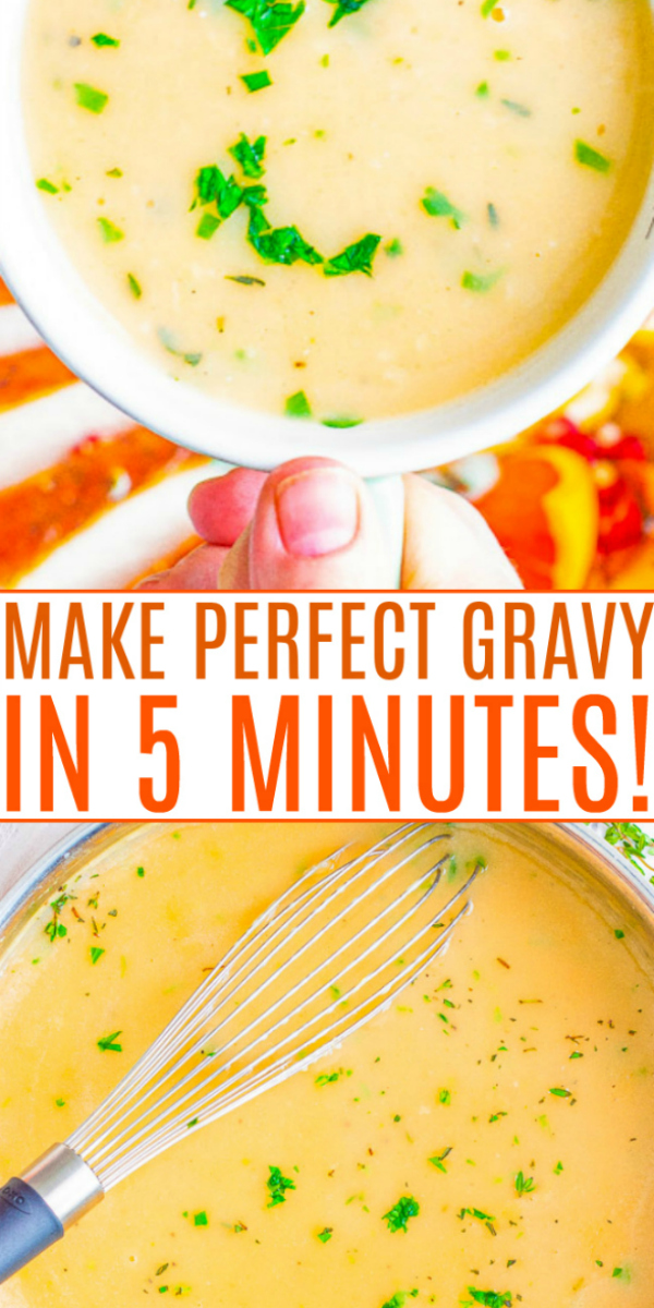 Easy Homemade Gravy — An EASY, foolproof recipe with lots of TIPS for PERFECT gravy that's ready in 5 minutes!! The whole family will LOVE this gravy over their Thanksgiving turkey, mashed potatoes, or as a comfort food addition to your dinner table during other times of the year!!