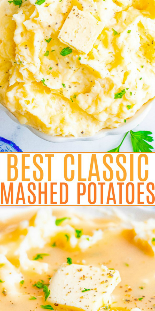 The BEST Mashed Potatoes — Buttery, creamy, PERFECT mashed potatoes that rival your favorite restaurant's version but EASY and ready in 45 minutes!! The quintessential holiday side dish for Thanksgiving, Christmas, or a great family-friendly weeknight comfort food side dish!!