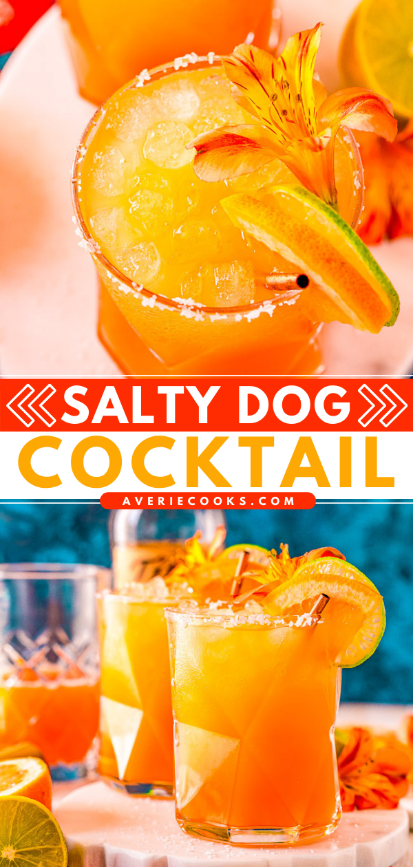 Salty Dog Cocktail — A cousin to a greyhound, this bright, refreshing drink is made with vodka (or gin), grapefruit juice, and a sea-salted rim!! Easy to make a pitcher of it or make in advance if you're entertaining!!