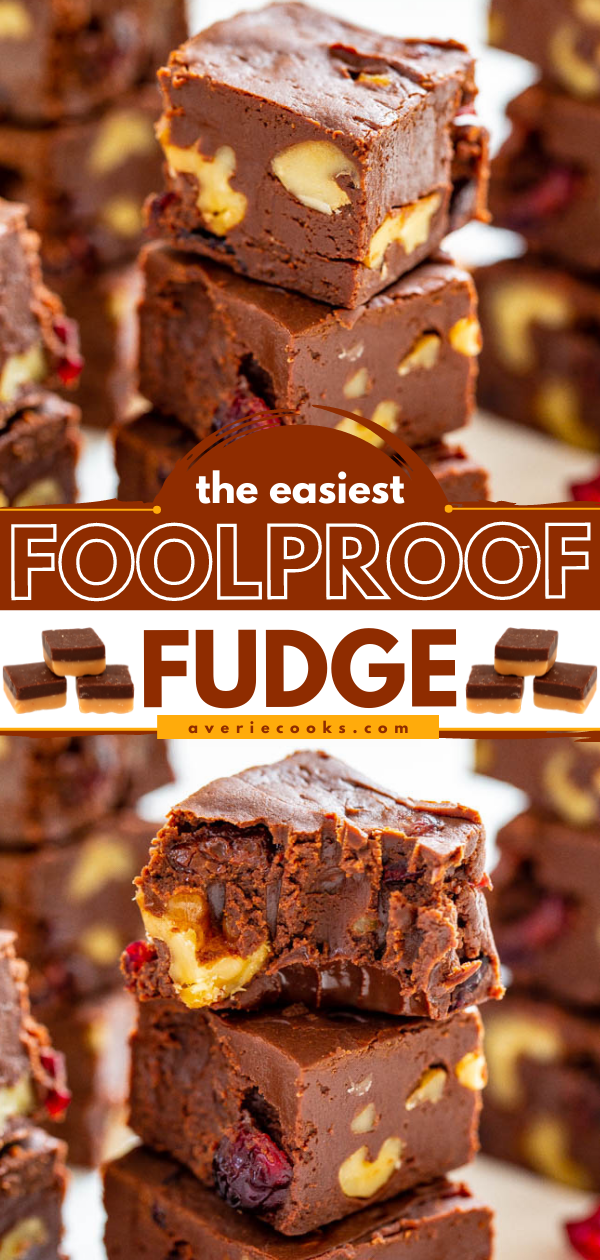 The Easiest Foolproof Fudge Recipe — Look no further than this recipe for the EASIEST and most FOOLPROOF fudge that takes less than 3 minutes to make!! Customize it with your favorite add-ins like cranberries and walnuts! Great for gifts and cookie exchanges!!