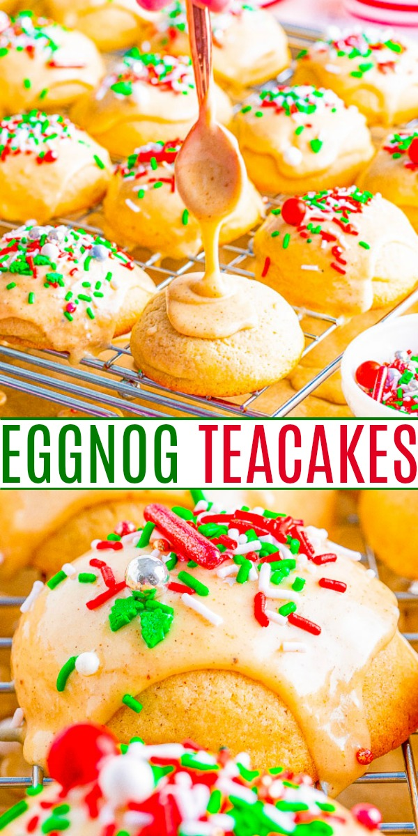 Eggnog Cookies — Soft, buttery tea cakes topped with a creamy eggnog glaze are a Christmas treat that everyone will love!! EASY to make, not at all dry, and great for cookie exchanges or hostess gifts!!