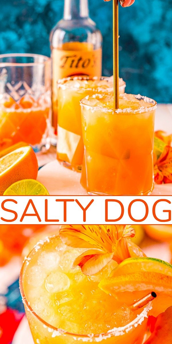 Salty Dog Cocktail - A cousin to a greyhound, this bright, refreshing drink is made with vodka (or gin), grapefruit juice, and a sea-salted rim!! Easy to make a pitcher of it or make in advance if you're entertaining!!