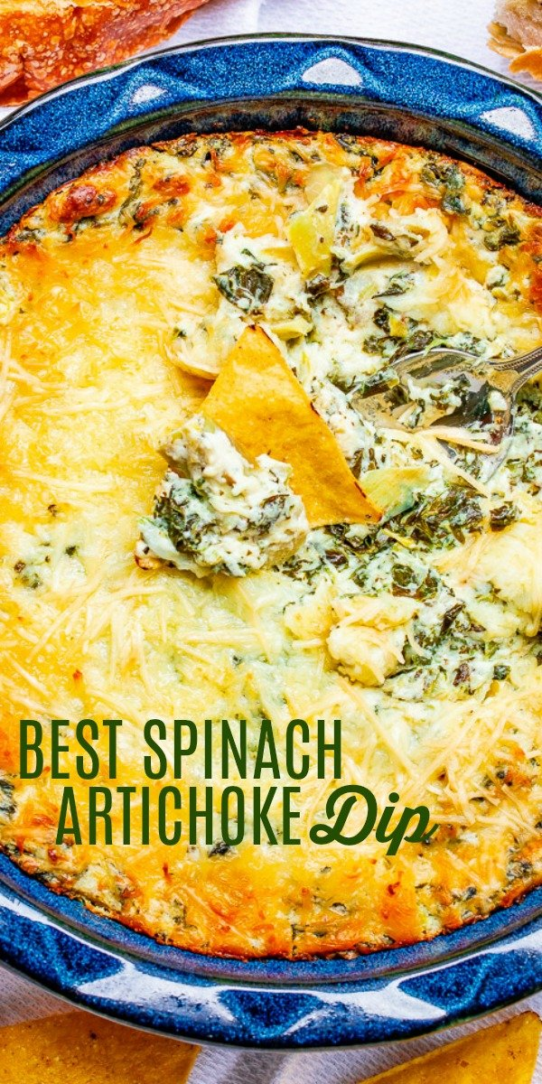 Best Spinach Artichoke Dip - This baked spinach and artichoke dip is rich, creamy, and it's a crowd FAVORITE sure to disappear at parties!! It's so cheesy thanks to both mozzarella and Parmesan cheeses! It's just THE BEST!!