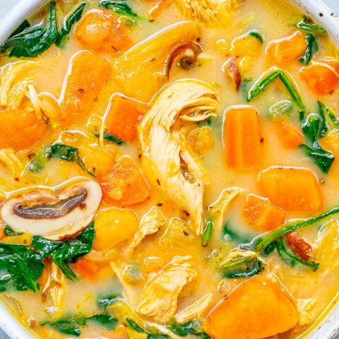 Creamy Sweet Potato Chicken Soup - An EASY comfort food chicken soup recipe with sweet potatoes and more to keep you full and satisfied for hours!! Ready in 30 minutes with a flexible ingredients list based on what you have on hand!!