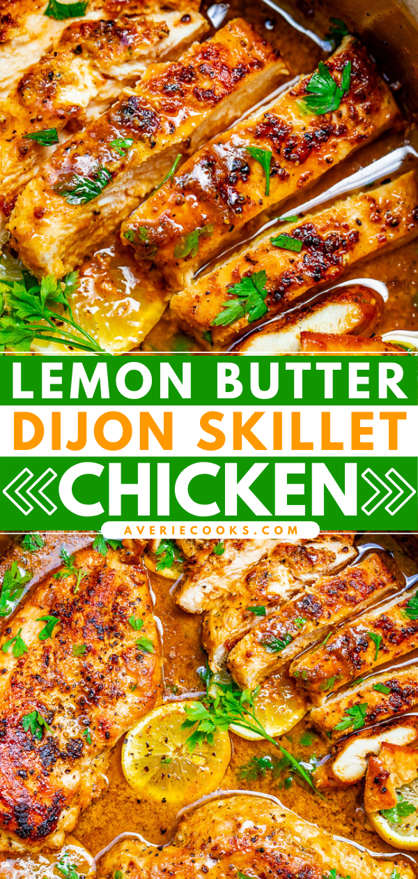 Lemon Dijon Chicken Skillet — Tender, juicy chicken with a scrumptious sauce made with lemon butter, Dijon mustard, and a splash of wine for extra flavor!! This EASY stovetop chicken recipe is ready in 15 minutes and will become a family dinner FAVORITE!!