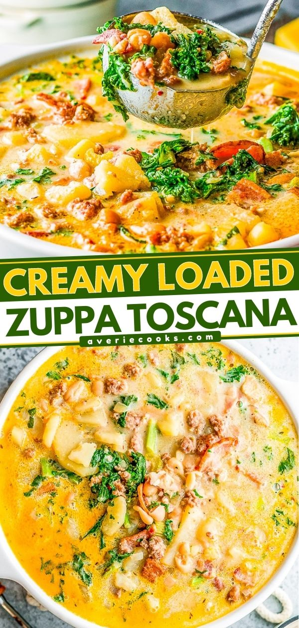 Loaded Zuppa Toscana Soup — This COPYCAT version of the Olive Garden classic can be made either on the STOVETOP, INSTANT POT, or SLOW COOKER!! A comforting classic Tuscan kale soup that's loaded with bacon, sausage, potatoes, Parmesan, cream, and more!!