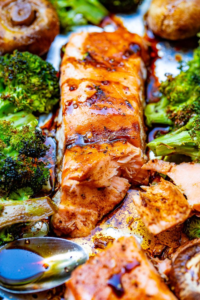 Sheet Pan Balsamic Salmon and Vegetables - An EASY recipe that has so much flavor from the balsamic glaze!! IMPRESS your family and friends with this restaurant-quality tasting baked salmon!!