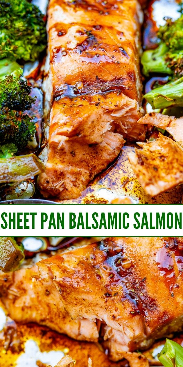 Sheet Pan Balsamic Salmon and Vegetables – An EASY recipe that has so much flavor from the balsamic glaze!! IMPRESS your family and friends with this restaurant-quality tasting baked salmon!!