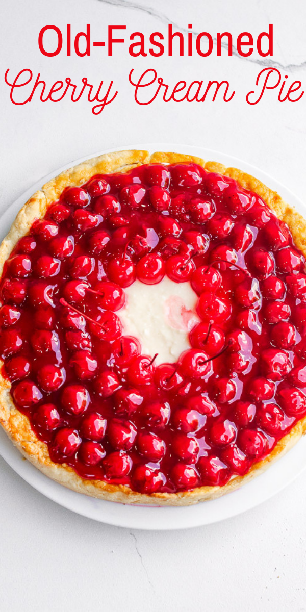 Cherry Cream Pie – An old-fashioned pie with homemade scratch crust topped with NO-BAKE layers of sweetened cream cheese along with juicy cherry pie filling!! If you like cherry pie, you're going to LOVE this amped up version!!