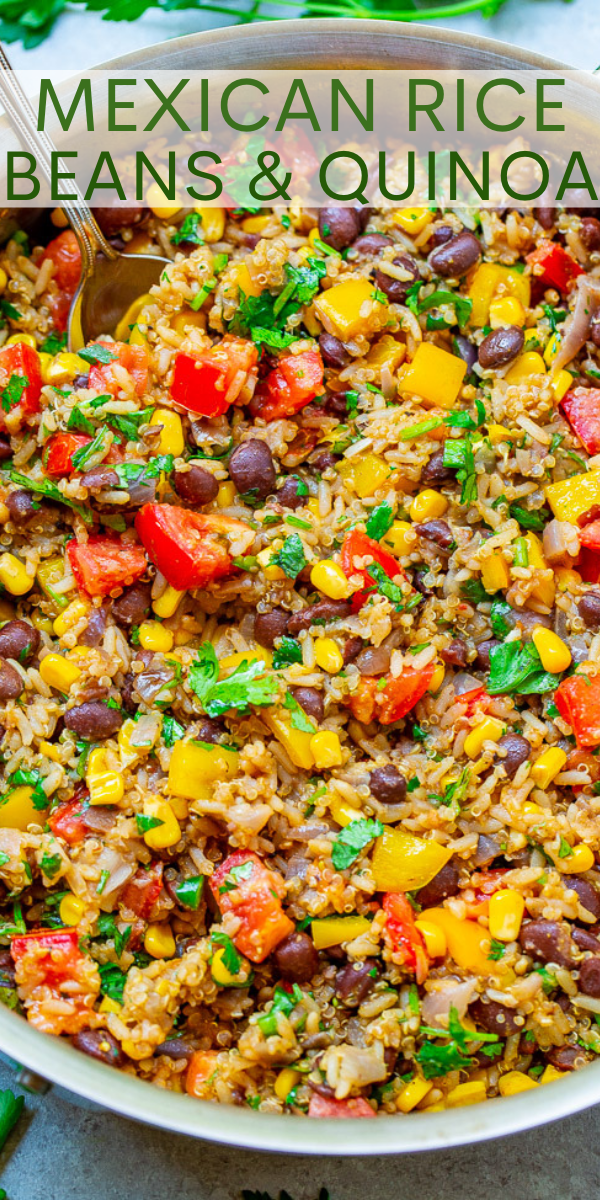 Mexican Rice, Beans, and Quinoa Medley - Hearty enough to be a meal or makes a FANTASTIC side dish with loads of textures in every bite!! A super FLEXIBLE recipe that's HEALTHY and makes a big batch for planned leftovers!!