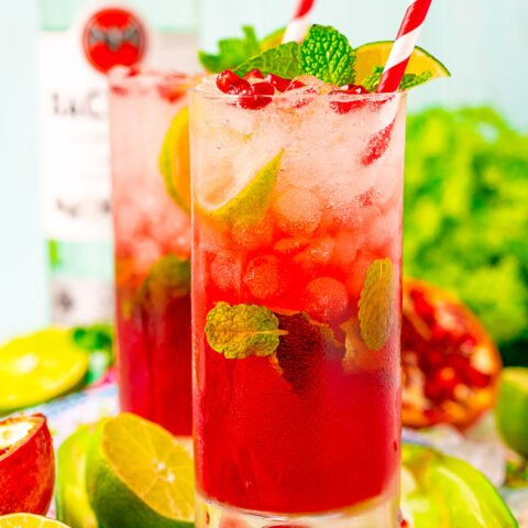 Pomegranate Mojito – Everyone will love this fruity twist on a classic mojito recipe! The tart pomegranates and lime blend beautifully and are paired with simple syrup, mint, and white rum for a refreshing cocktail that's perfect all year long!