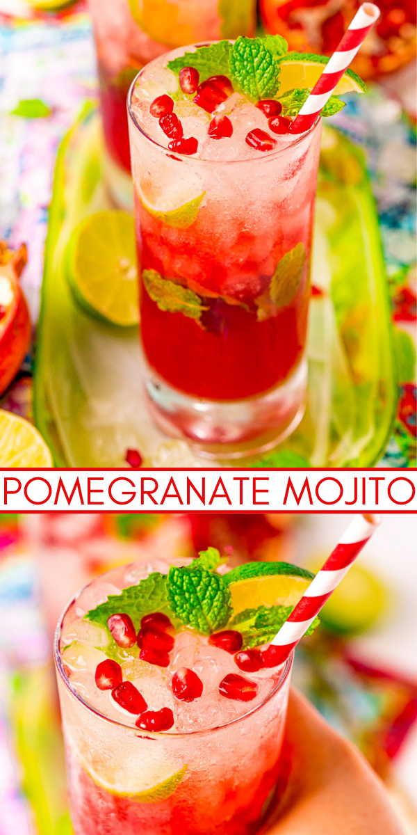Pomegranate Mojito - Everyone will love this fruity twist on a classic mojito recipe! The tart pomegranates and lime blend beautifully and are paired with simple syrup, mint, and white rum for a refreshing cocktail that's perfect all year long!