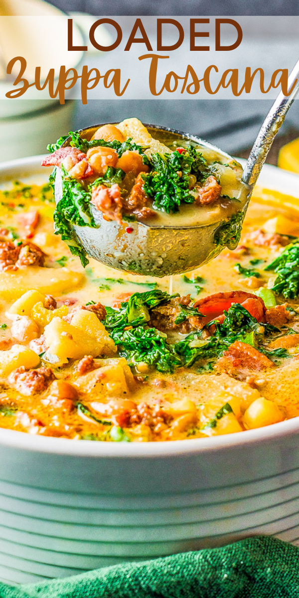 Loaded Zuppa Toscana – This COPYCAT version of the Olive Garden classic can be made either on the STOVETOP, INSTANT POT, or SLOW COOKER!! A comforting classic Tuscan soup that's loaded with bacon, sausage, potatoes, Parmesan, cream, and more!!