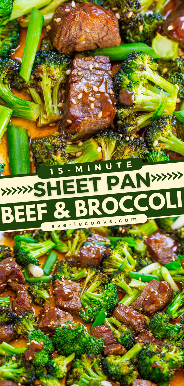 15-Minute Sheet Pan Chinese Beef and Broccoli — EASY, HEALTHIER than going out for Chinese because it's baked, and FASTER than calling for takeout!! So much FLAVOR in this family favorite! It'll go into your regular rotation!!