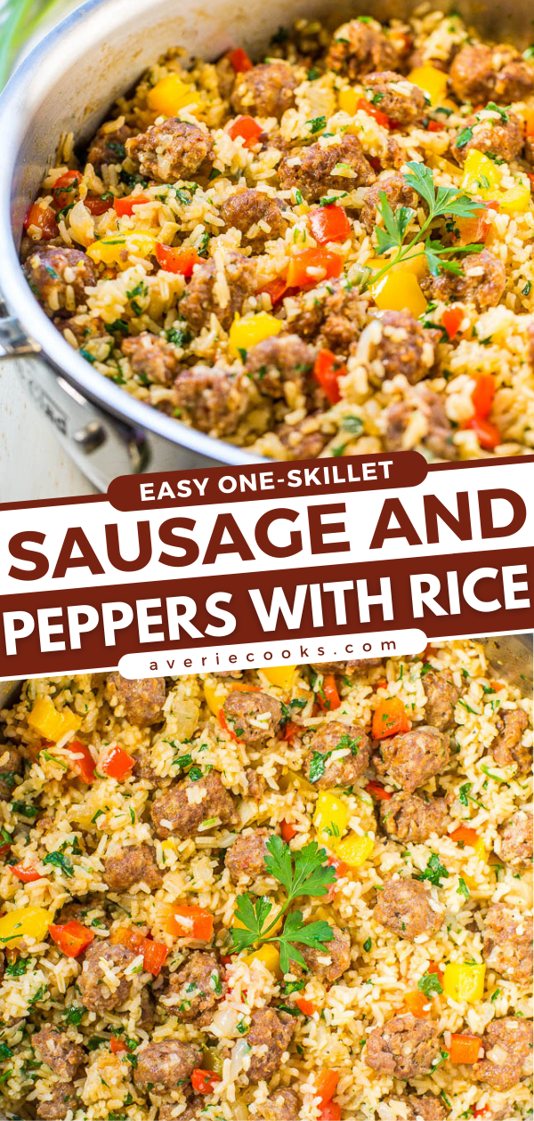 Italian Sausage and Peppers Skillet — This easy one-skillet recipe combines Italian sausage and peppers with sweet Vidalia onions and rice to make a quick dinner that's ready in 30 minutes!