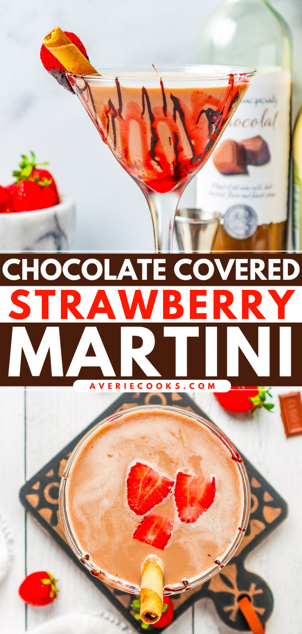Chocolate Covered Strawberry Martini – An indulgent chocolate martini that's perfect for Valentine's Day, anniversaries, date-night-in, or a girls-night-in! Plenty of chocolate flavor in this festive, fun, and easy martini!