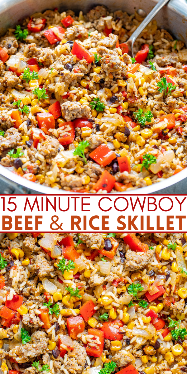 15-Minute Cowboy Beef and Rice Skillet – An EASY comfort food recipe with just 5 main ingredients made with everyday staples!! Juicy beef, tender rice, and just the right amount of kick from the salsa make this an automatic FAMILY FAVORITE!!
