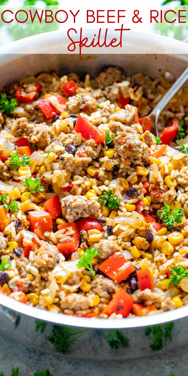 15-Minute Cowboy Beef and Rice Skillet - An EASY comfort food recipe with just 5 main ingredients made with everyday staples!! Juicy beef, tender rice, and just the right amount of kick from the salsa make this an automatic FAMILY FAVORITE!!