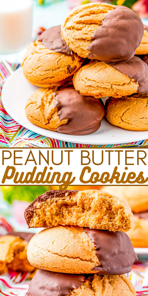 Soft Peanut Butter Pudding Cookies — These chocolate-dipped peanut butter cookies are SOFT AND CHEWY on the inside thanks to the addition of pudding mix in the cookie dough! Dipping them in dark chocolate makes for the PERFECT flavor combo!!