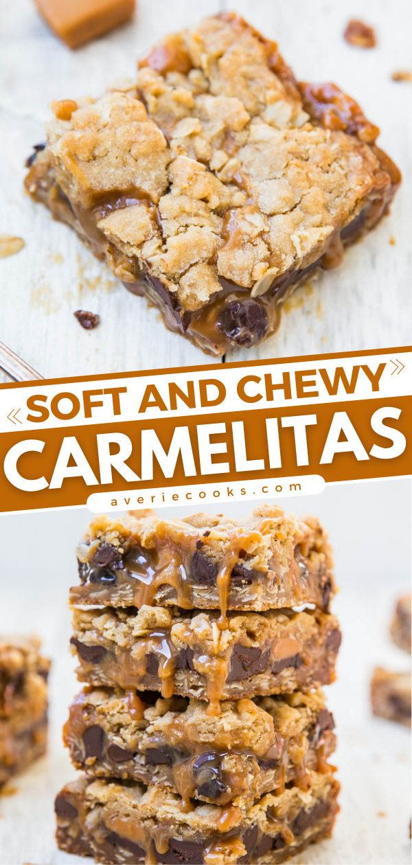 Carmelitas — For the serious caramel lover, these soft and chewy layered bars are dripping with caramel and stuffed with chocolate! Easy one-bowl, no-mixer recipe that everyone loves!