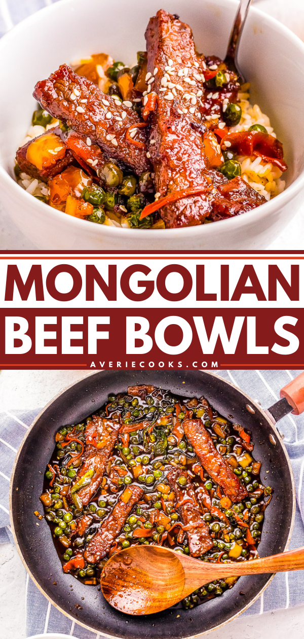 Mongolian Beef Stir-Fry Bowls — These EASY Chinese-inspired Mongolian beef stir-fry bowls are ready in just 10 minutes!! Loaded with rich savory flavor, crisp-tender vegetables, and served over rice! Faster than calling for takeout when you're craving Asian food!!