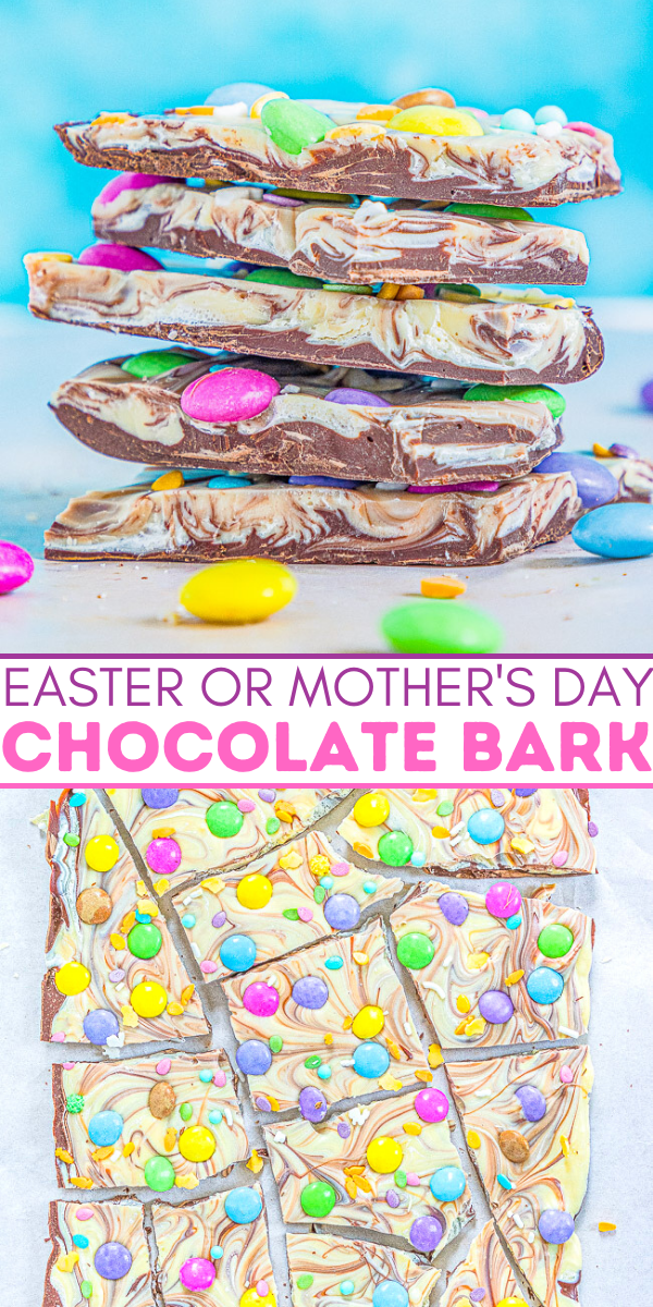 Easter Chocolate Bark – A mixture of milk and white chocolate swirled together and topped with M&Ms and sprinkles!! Such a FAST, EASY, NO-BAKE, and MAKE-AHEAD treat that's perfect for Easter, springtime, or Mother's Day!!