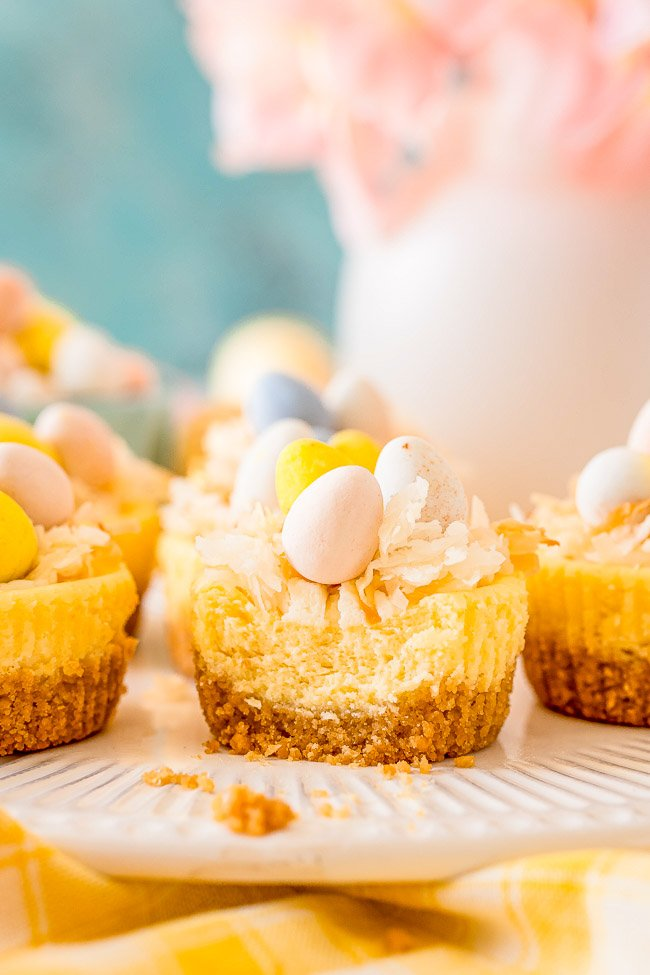 Mini Easter Cheesecakes - These cute little cheesecakes are perfect for Easter! Creamy cheesecake filling sits atop a shortbread crust and is topped with a cheesecake pudding whipped cream, coconut, and mini chocolate eggs!
