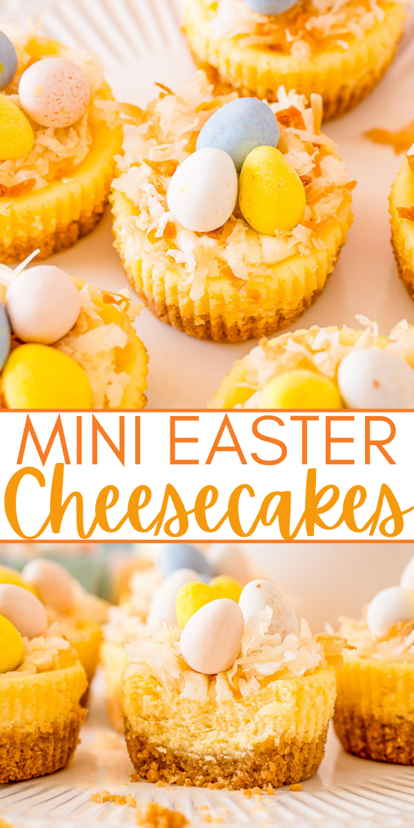 Mini Easter Cheesecakes – These cute little cheesecakes are perfect for Easter! Creamy cheesecake filling sits atop a shortbread crust and is topped with a cheesecake pudding whipped cream, coconut, and mini chocolate eggs!