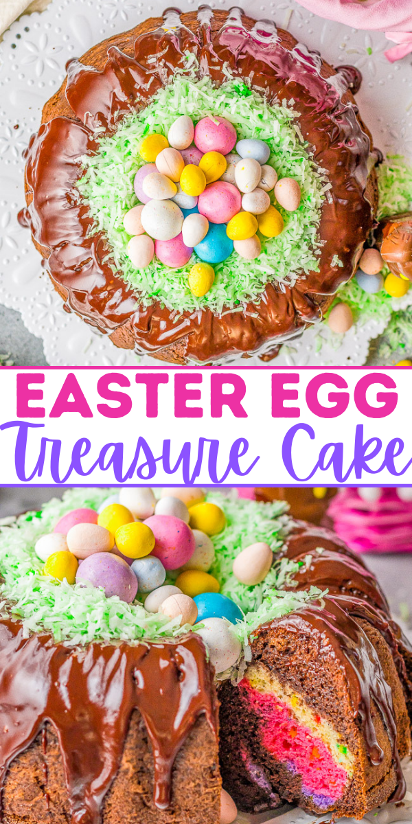 Easter Egg Treasure Cake – This FUN cake is made with two different cake mixes. The eggs, chicks, and bunnies from the first cake are cut out and put in the second cake before it's baked. Decorated with coconut grass and candy eggs, this is a FESTIVE Easter dessert with buried TREASURES inside!! Use the leftover cake to cut out more mini cakes and let the kids decorate for extra fun!