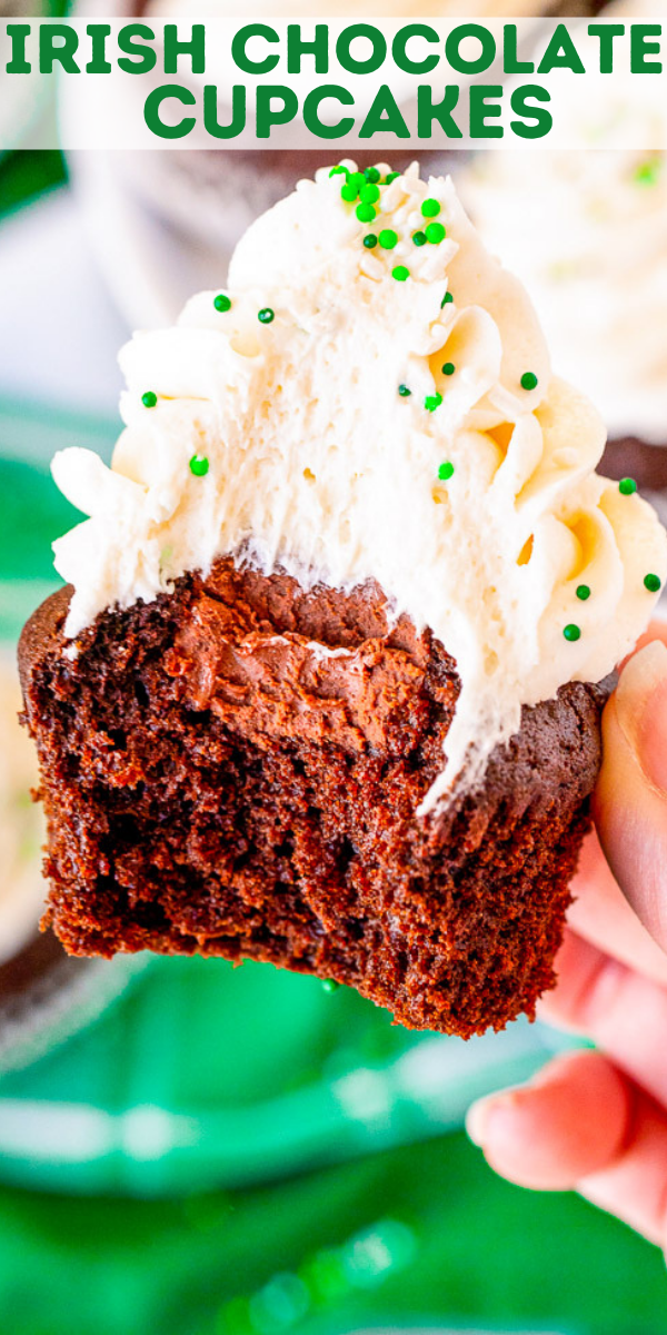 Irish Chocolate Cupcakes – A tender chocolate cupcake made from scratch with batter that's spiked with Guinness, along with a hint of Jameson Irish whiskey in the chocolate ganache filling, and frosted with a silky smooth Baileys buttercream frosting!! Not too boozy and not too sweet! Makes a smaller batch of 12 and PERFECT for St. Patrick's Day!!