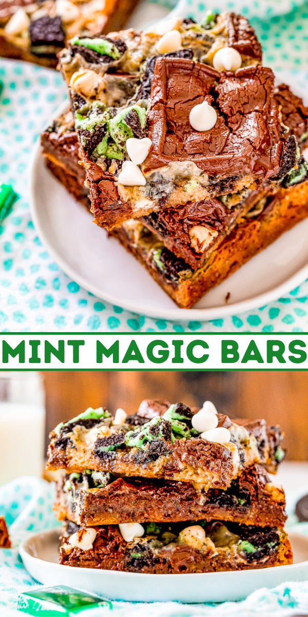 Mint Magic Bars - These bars are a mint twist on the classic Seven Layer Bars many grew up with! Made with Ghirardelli Mint Chocolates, Andes Mints, and Mint Oreos on a chocolate chip cookie base. White chocolate chips, chocolate chunks, and a layer of sweetened condensed milk that caramelizes as it bakes provide a true Magic Bar experience!