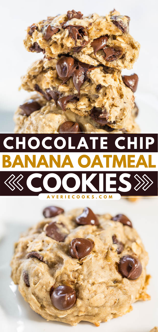 Chocolate Chip Banana Oatmeal Cookies— These cookies are soft, moist, and oh-so chewy. They taste like banana bread and chocolate chip cookies rolled into one dessert!