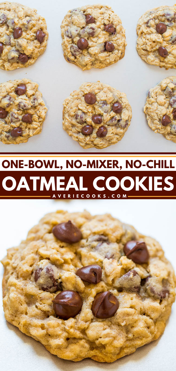 Easy Oatmeal Cookies— An incredibly FAST and EASY recipe that produces perfectly thick cookies with chewy edges and soft centers!! One bowl to wash, no mixer to drag out, and no waiting around!!