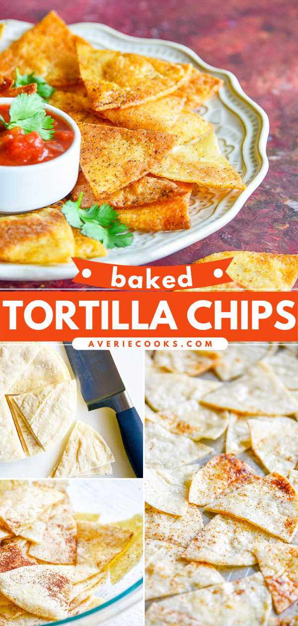 Baked Tortilla Chips - Making tortilla chips at home is FAST and EASY! Ready in just 20 minutes. These are BAKED not fried so they're healthier, too! Perfect for salsa, guac, or anytime you need tortilla chips!