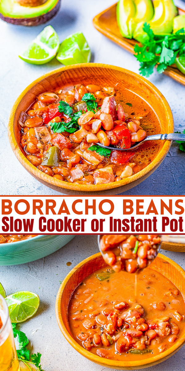 """Borracho Beans - These """"drunken beans"""" are simmered with a can of BEER and can be made in your SLOW COOKER OR INSTANT POT! The bacon, sausage or chorizo, jalepenos, tomato, onion, garlic, herbs, and beer make these the BEST beans ever! A wonderful side for any Mexican-themed meal!"""