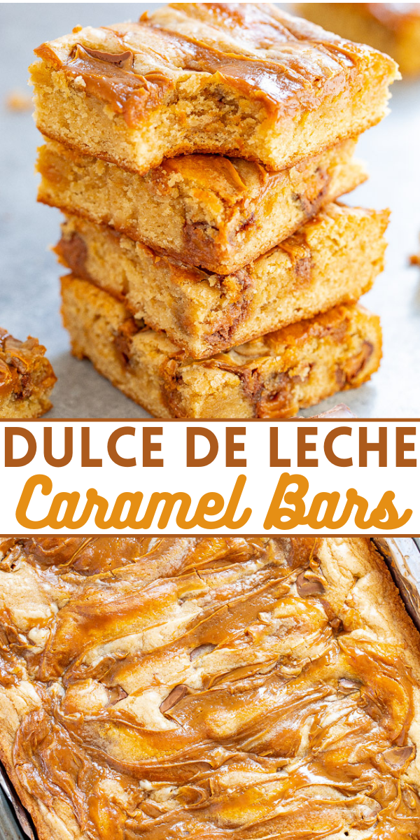 Dulce de Leche Caramel Bars – Soft, chewy bars loaded with dulce de leche and Rolo caramel candies for the ULTIMATE in caramel flavor!! EASY to make and a guaranteed FAVORITE! Perfect for your next fiesta!!