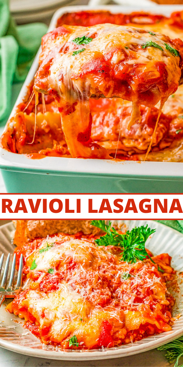 Cheesy Ravioli Lasagna - This EASY lasagna comes together with just four simple ingredients making it perfect for busy weeknights!! The whole family will LOVE this cheesy comfort food lasagna recipe!