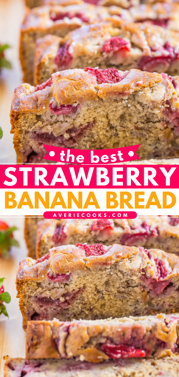 Strawberry Banana Bread— This strawberry bread is packed with fresh, juicy strawberries in every bite! This is an easy, no-mixer quick bread recipe you're going to love!