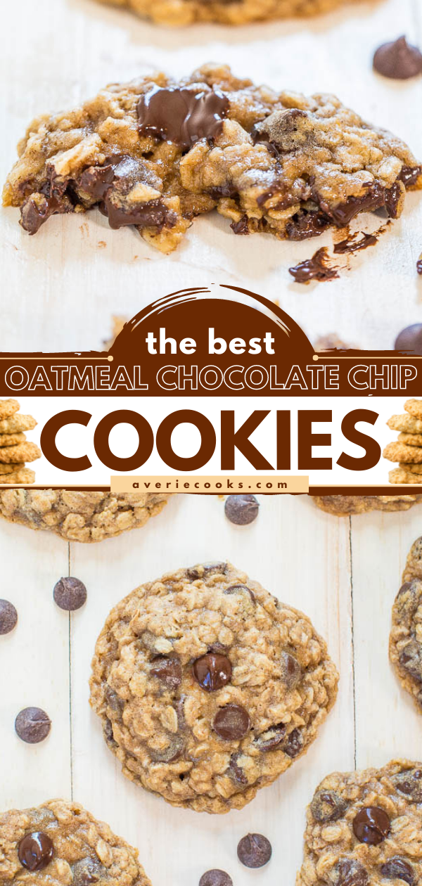Ok The Best Oatmeal Chocolate Chip Cookies — Soft, chewy, loaded with chocolate, and they turn out perfectly every time! Totally irresistible!!