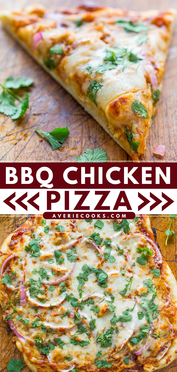 BBQ Chicken Pizza — This amazingly fresh bbq pizza reminds me of California Pizza Kitchen's bbq chicken pizza except I think homemade is better. I'm not partial or anything. In just 15 minutes, you have a meal everyone will love!