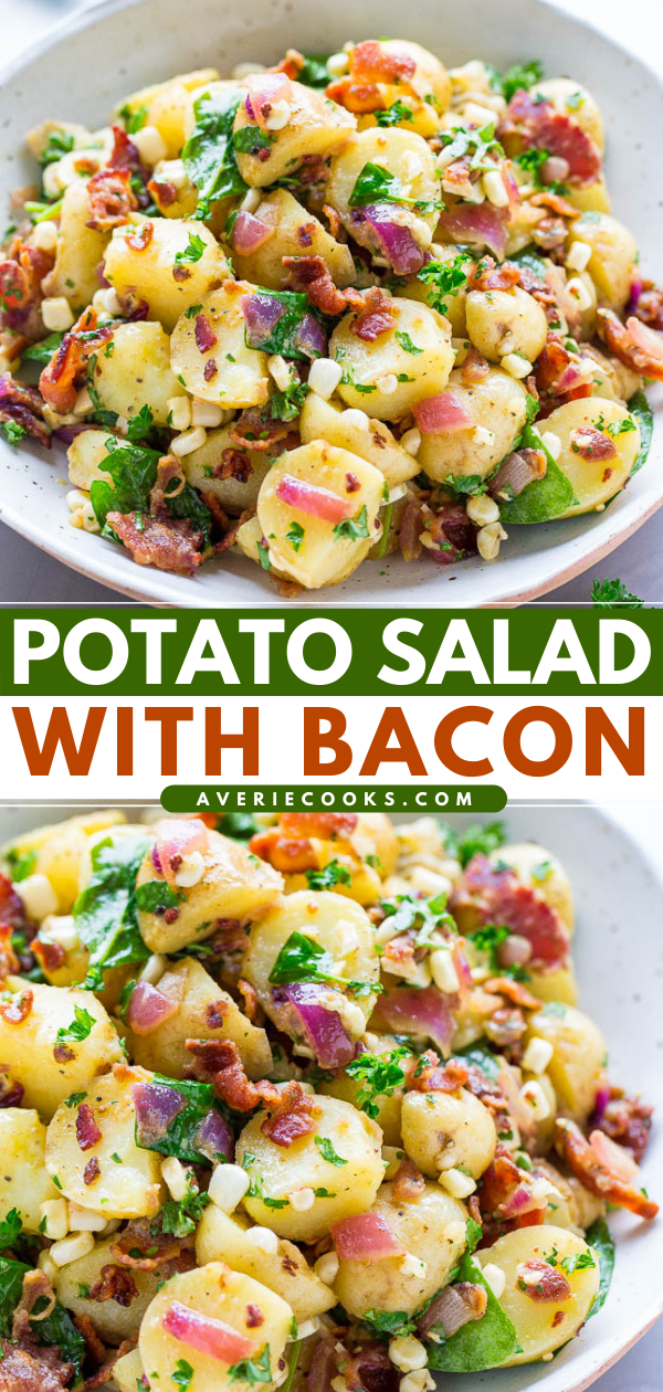 This no mayo Potato Salad with Bacon is ready in just 30 minutes! It's a vinegar potato salad the whole family will love.