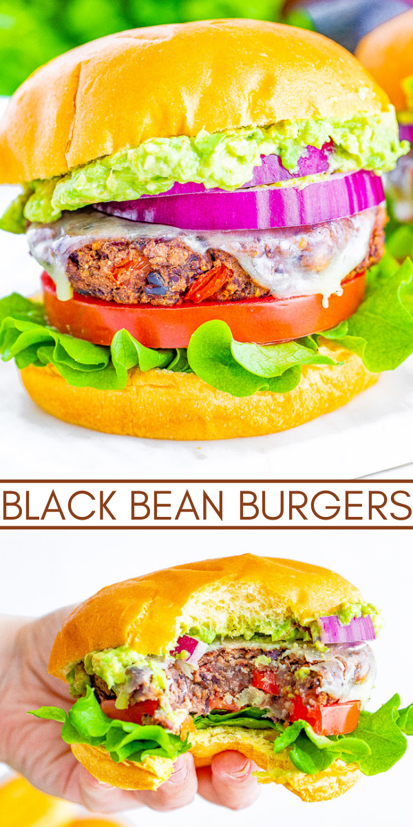 Black Bean Burgers - This will be your new FAVORITE black bean burger recipe! EASY, full of great texture, flavor, and tastes just like a great burger - minus the meat! Can be GRILLED or BAKED!