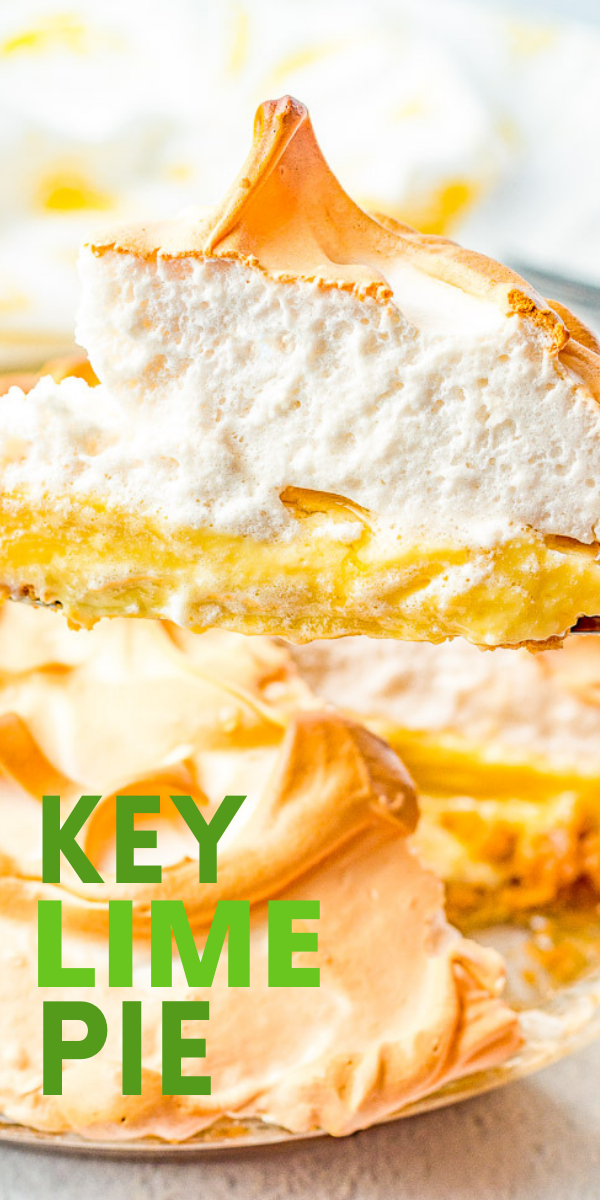 Key Lime Pie – This sweet and tart pie is a family FAVORITE! The recipe has been handed down from my grandma who made this pie for 40 years! An EASY graham cracker crust is filled with a creamy lime filling and topped with a fluffy meringue! Not too tart, not too sweet, just PERFECT!