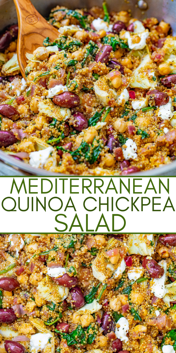 Mediterranean Quinoa and Chickpea Salad - This EASY quinoa salad is ready in 20 minutes with Mediterranean-inspired ingredients including chickpeas, Kalamata olives, artichokes, and goat cheese to give layers of flavor and texture in every bite! Naturally gluten-free and vegetarian!